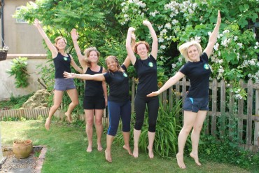 Katy Tuncer, exercising with some mums in a Ready Steady Mums group
