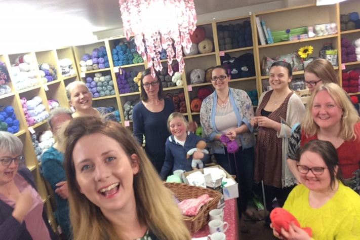 The knitters of Knitting Smiles Across East Lancs