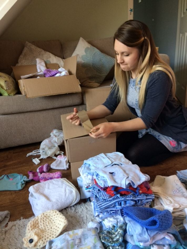 Packing boxes for Knitting Smiles Across East Lancs
