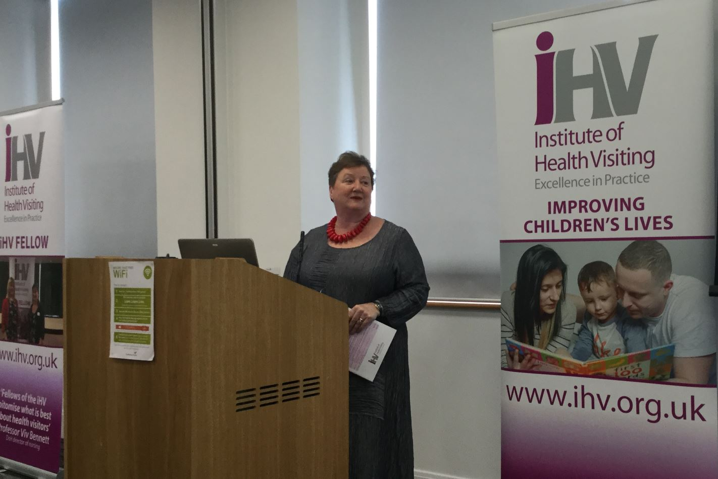 Dr Cheryll Adams CBE welcoming the delegates to the Mastering evidence-based practice in health visiting conference