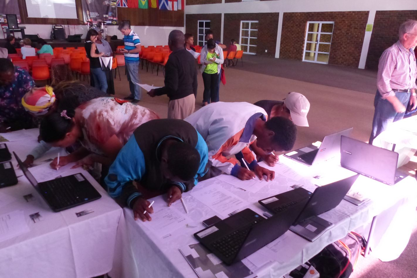 Signing up for the Computer Learning Centre Khanyisa Community Church.